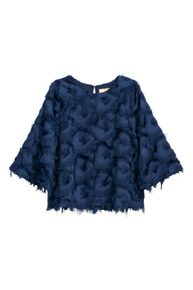 Top with fringing - Dark blue - Ladies | H&M GB