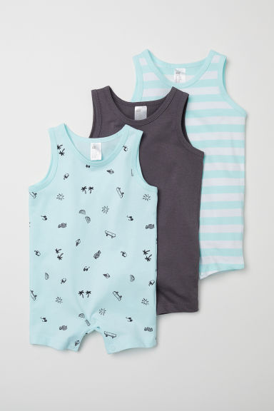3-pack all-in-one pyjamas - Light turquoise/Patterned - Kids | H&M CN