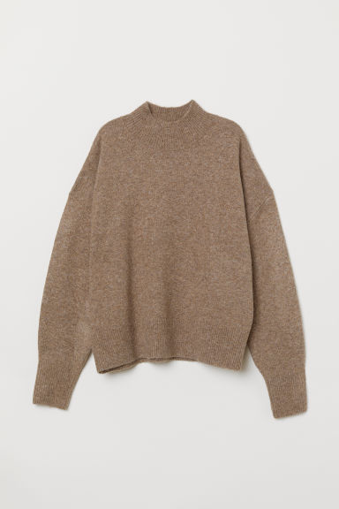 Fine-knit Sweater - Dark beige melange - Ladies | H&M US