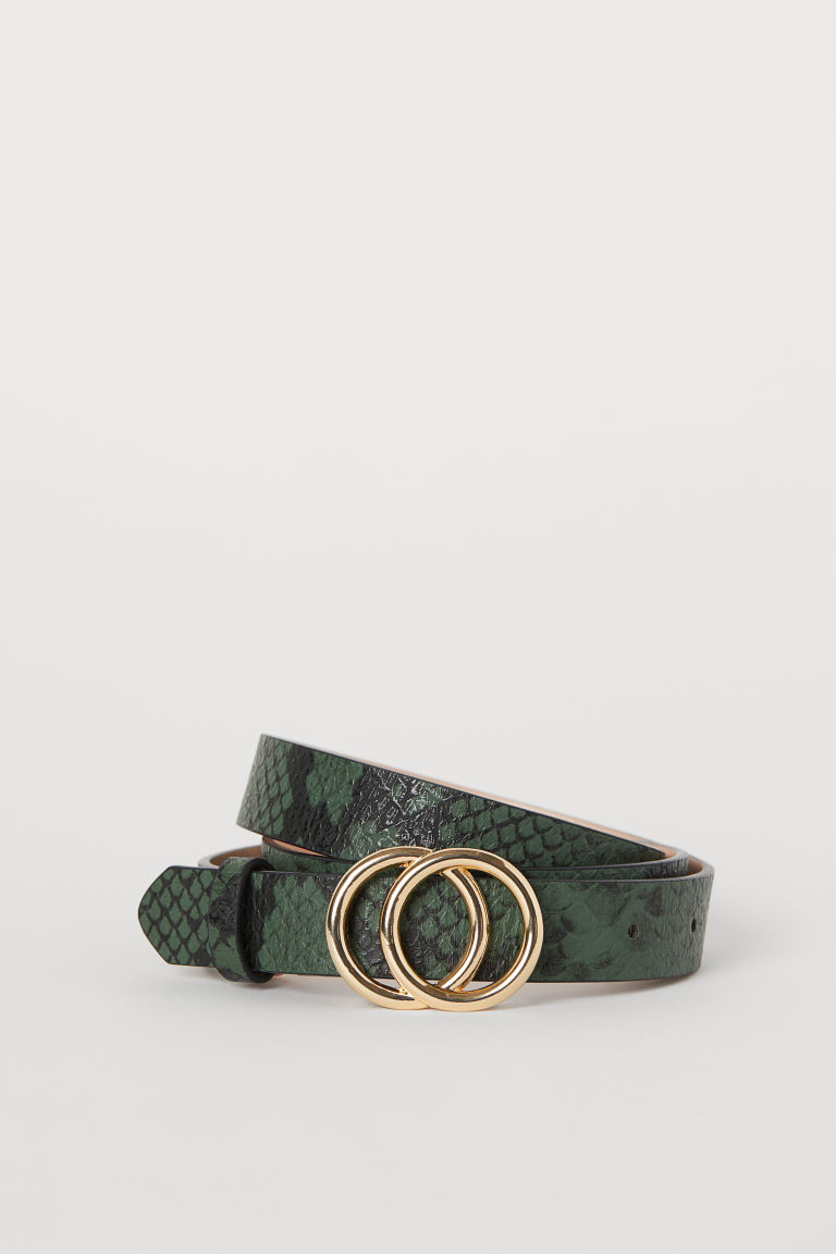 Narrow belt - Dark green/Snakeskin-patterned - Ladies | H&M GB