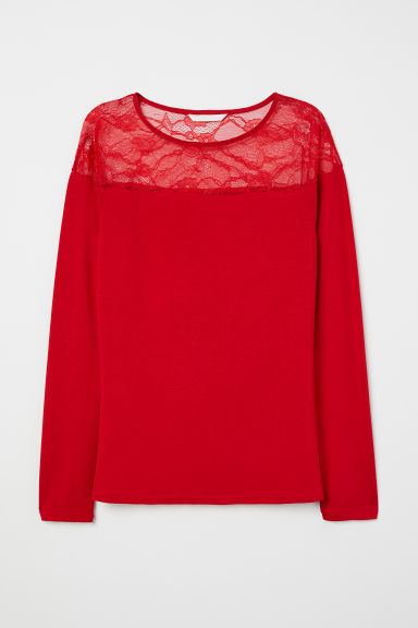 Top with a lace yoke - Red - Ladies | H&M