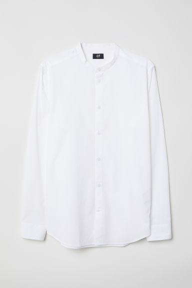Poplin grandad shirt Slim Fit - White - Men | H&M CN