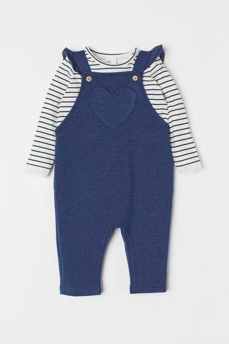 Top and dungarees - Blue marl/Heart - Kids | H&M CN