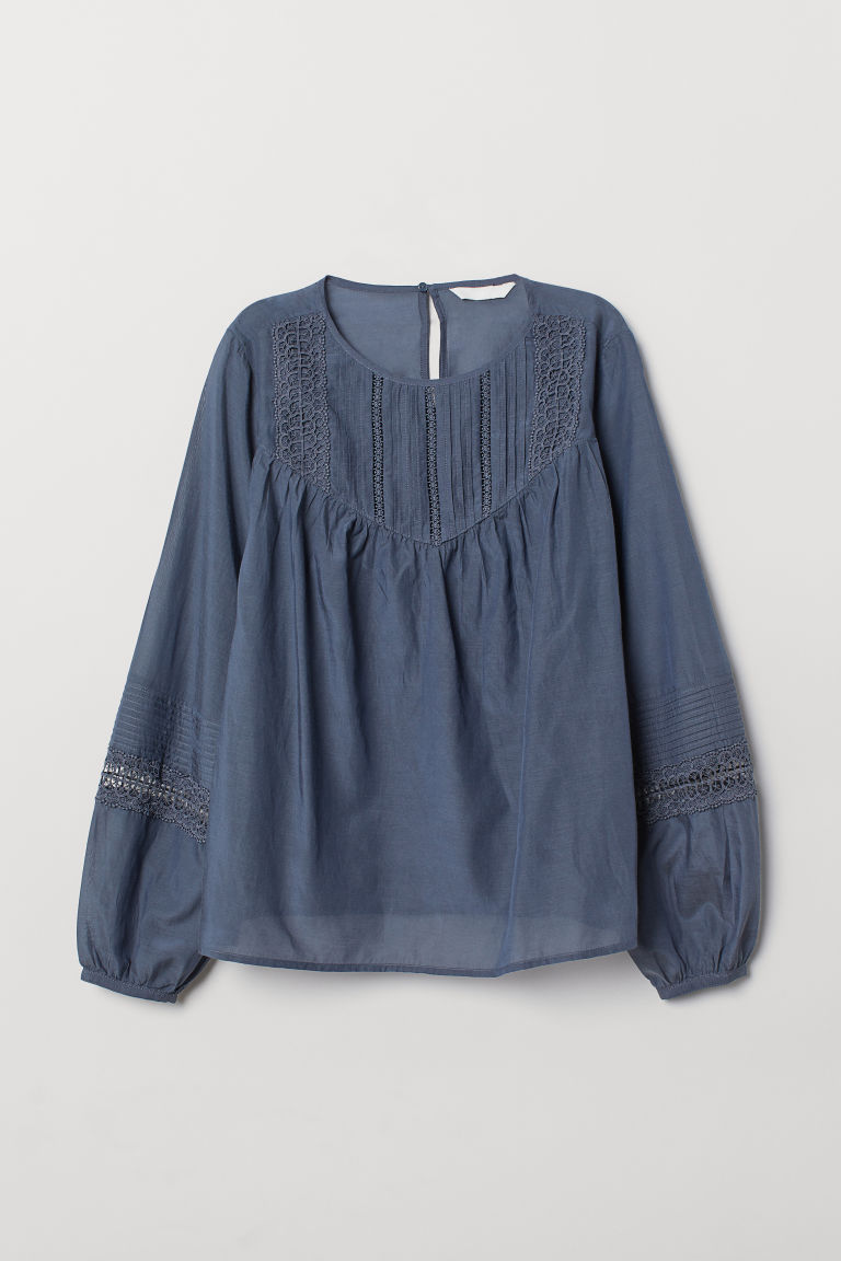 Blouse with pin-tucks - Blue - Ladies | H&M CN