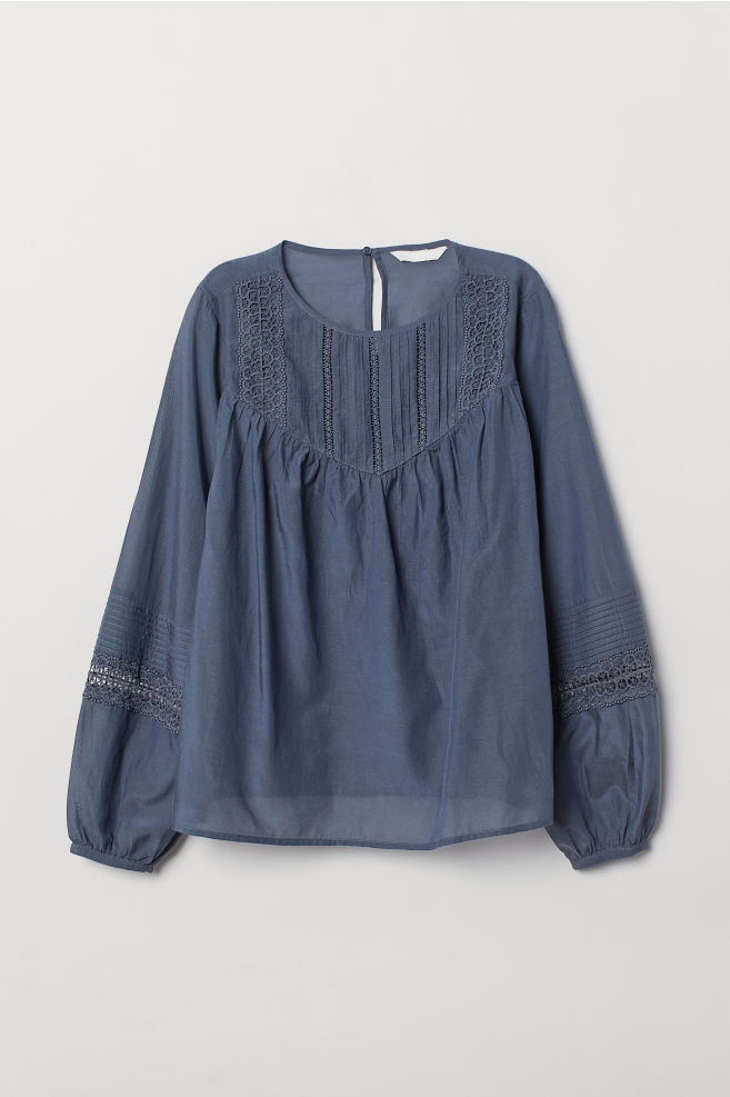 944107467d29c1 ... Blouse with Pin-tucks - Blue - Ladies | H&M ...