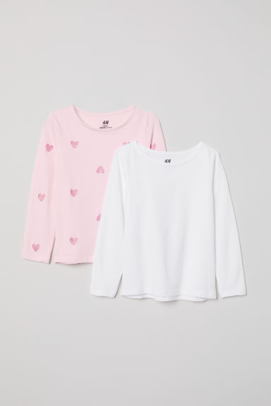 2-pack long-sleeved tops - Light pink/Hearts - Kids | H&M