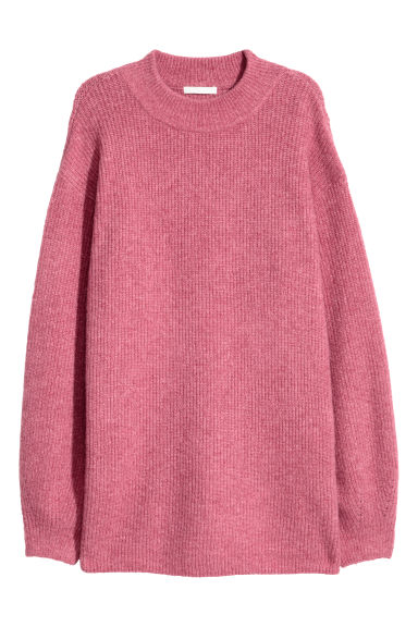 Ribbed jumper - Dark pink marl - Ladies | H&M CN
