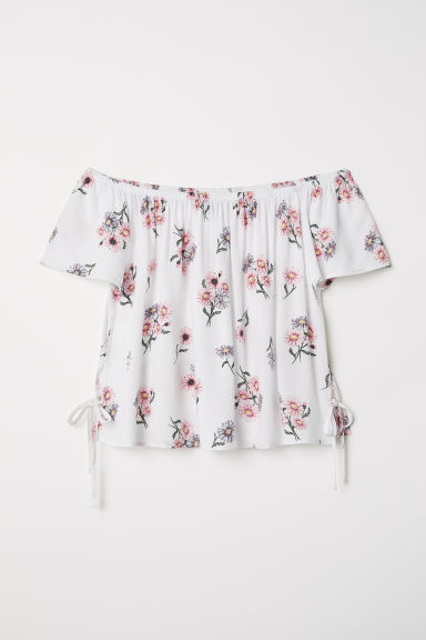 Off-the-shoulder blouse - White/Floral -  | H&M CN