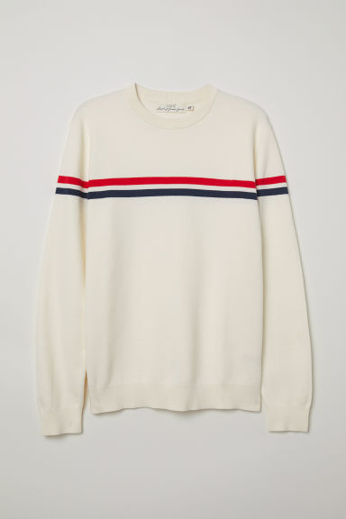 Jacquard-knit jumper - Natural white - Men | H&M CN