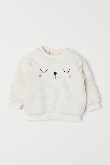 Pile sweatshirt - White/Animals - Kids | H&M