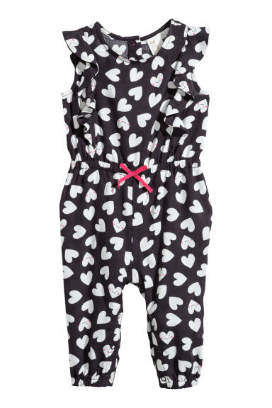 Patterned romper suit - Dark grey/Hearts -  | H&M