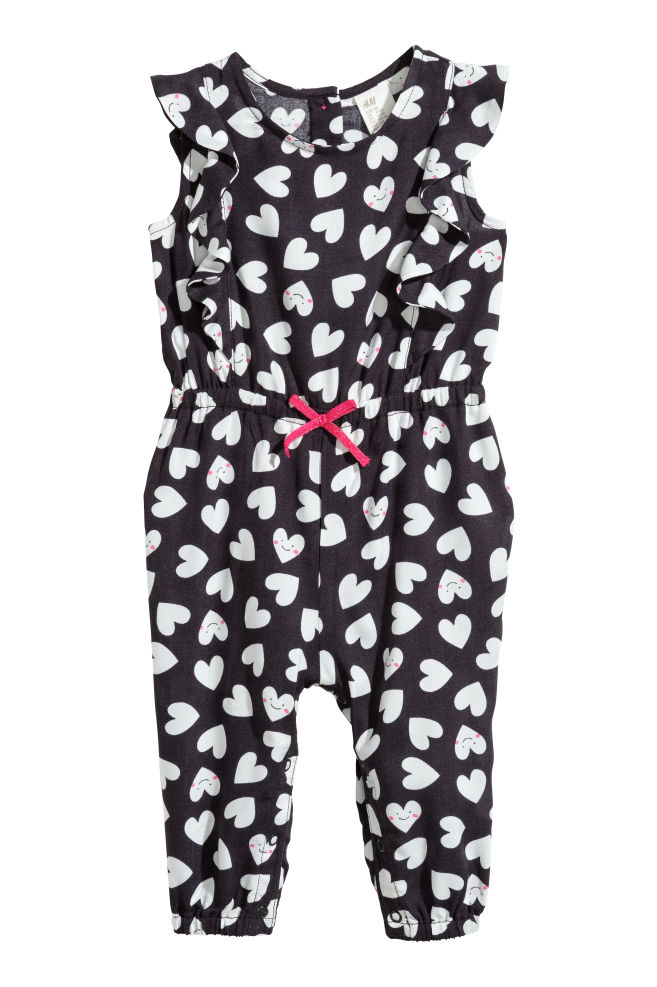 58cbcc2684b Patterned romper suit - Dark grey Hearts - Kids