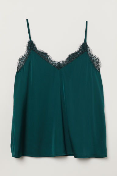 Satin strappy top - Dark green -  | H&M CN