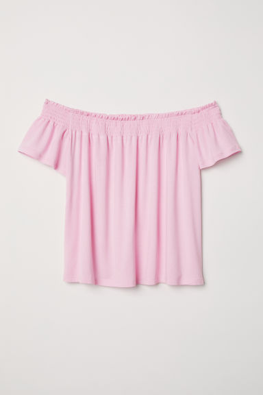 Off-the-shoulder top - Light pink - Ladies | H&M