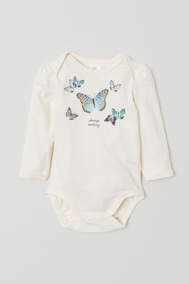 Puff-sleeved bodysuit - Natural white/Butterflies - Kids | H&M