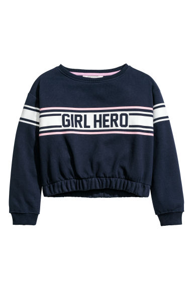 Printed sweatshirt - Dark blue -  | H&M CN