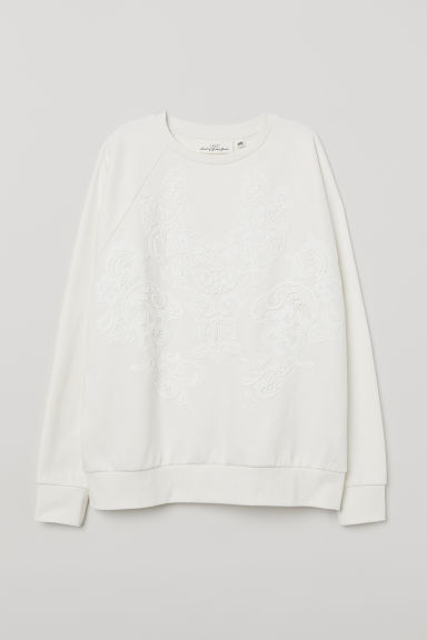 Sweatshirt with lace - White - Ladies | H&M