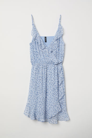 Short flounced dress - Light blue/Floral -  | H&M