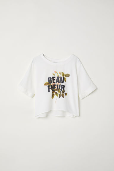 Printed top - Natural white/Beau Fleur - Kids | H&M