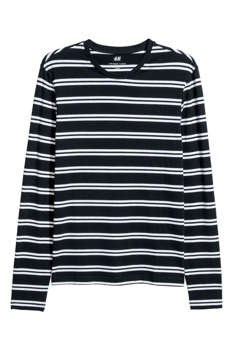 Jersey top Slim fit - Dark blue/White striped - Men | H&M