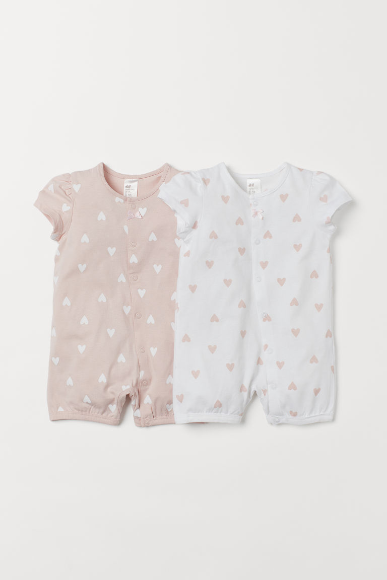 2-pack all-in-one pyjamas - Light pink/Hearts - Kids | H&M