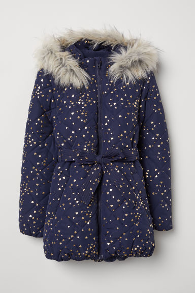 Quilted jacket - Dark blue/Hearts - Kids | H&M