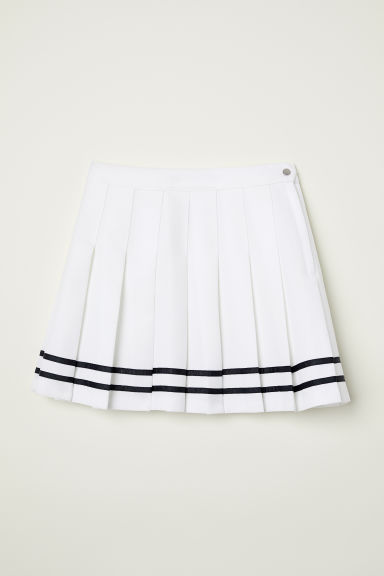 Pleated skirt - Natural white -  | H&M