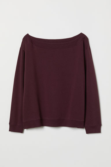 H&M+ Boat-neck sweatshirt - Burgundy - Ladies | H&M CN