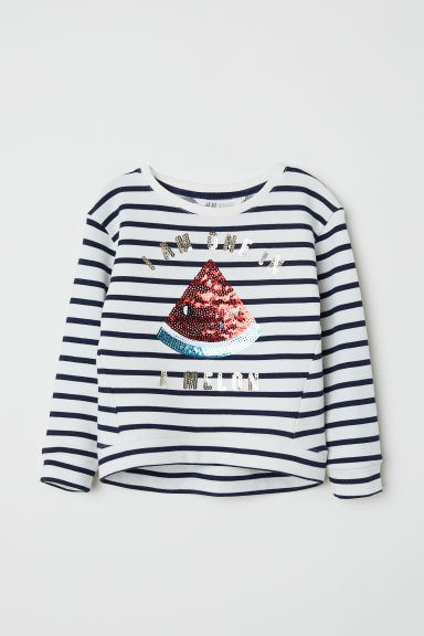 Sweatshirt with sequins - White/Striped -  | H&M