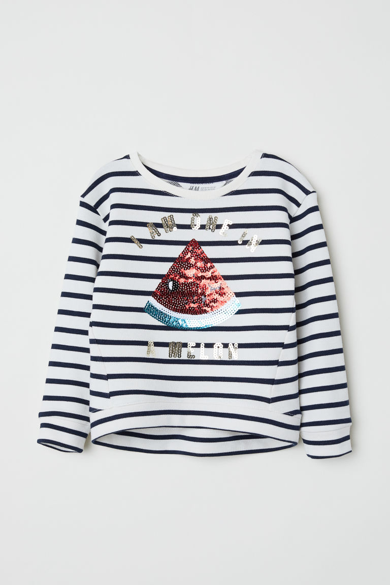 Sweatshirt with sequins - White/Striped - Kids | H&M