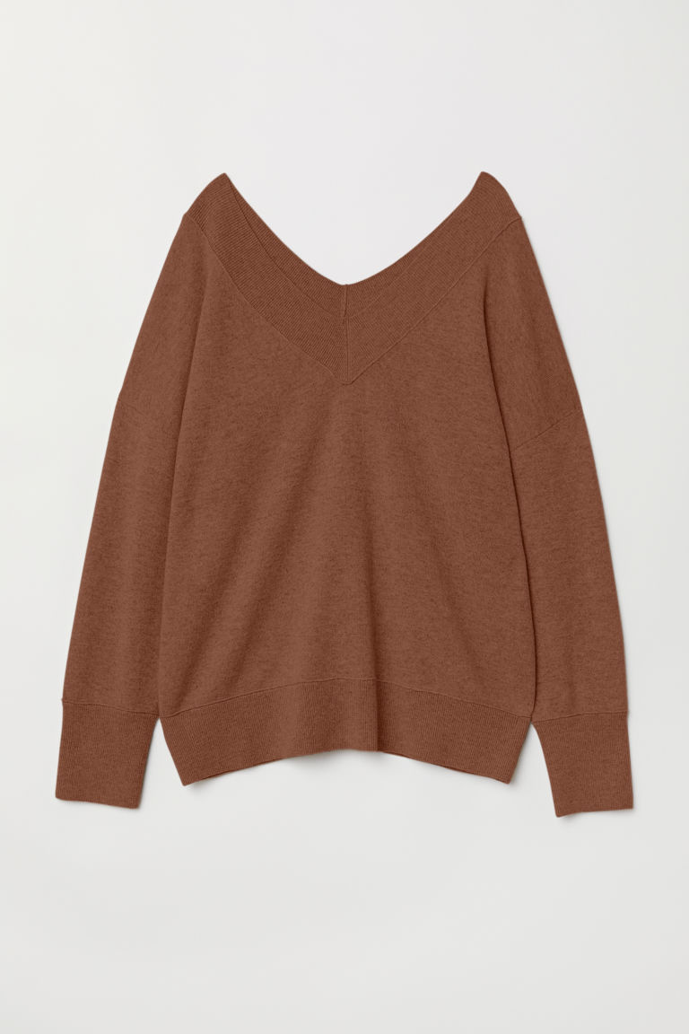 V-neck Cashmere Sweater - Brown - Ladies | H&M US