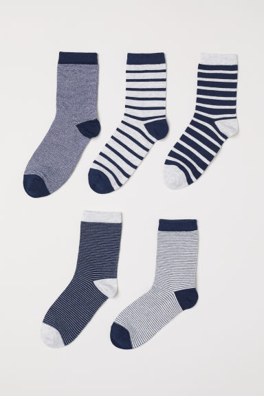 5-pack socks - Dark blue/Striped -  | H&M