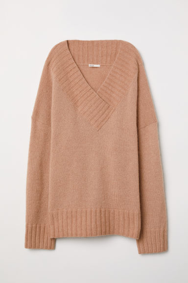 Knitted mohair-blend jumper - Powder - Ladies | H&M
