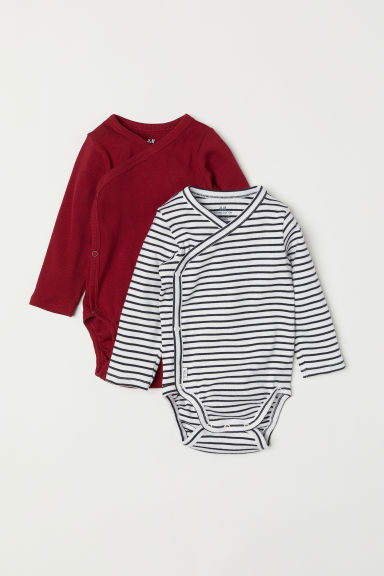 2-pack long-sleeved bodysuits - Burgundy/Striped - Kids | H&M CN