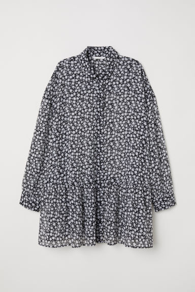 Chiffon blouse - Black/Floral - Ladies | H&M GB