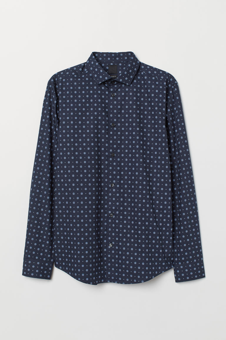 Premium Cotton Shirt - Dark blue/patterned - Men | H&M CA