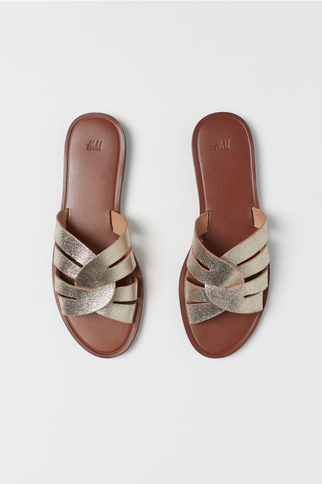8a52ea5cf1849 Sandales en cuir - Doré - FEMME
