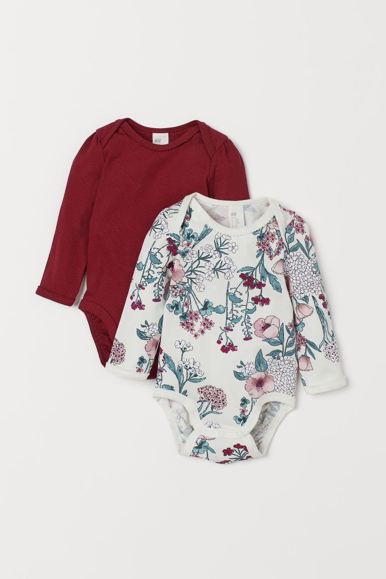 2-pack Cotton Bodysuits - Natural white/floral - Kids | H&M US