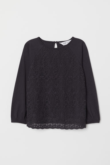 Top with lace - Dark blue - Kids | H&M CN