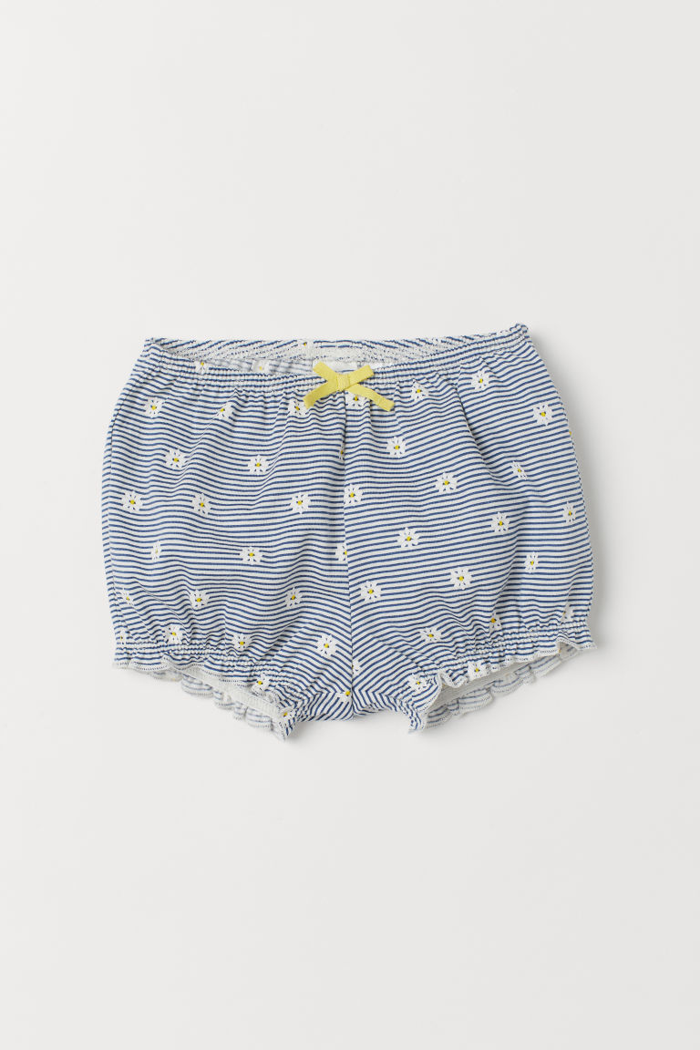 Patterned puff pants - Dark blue/White striped - Kids | H&M
