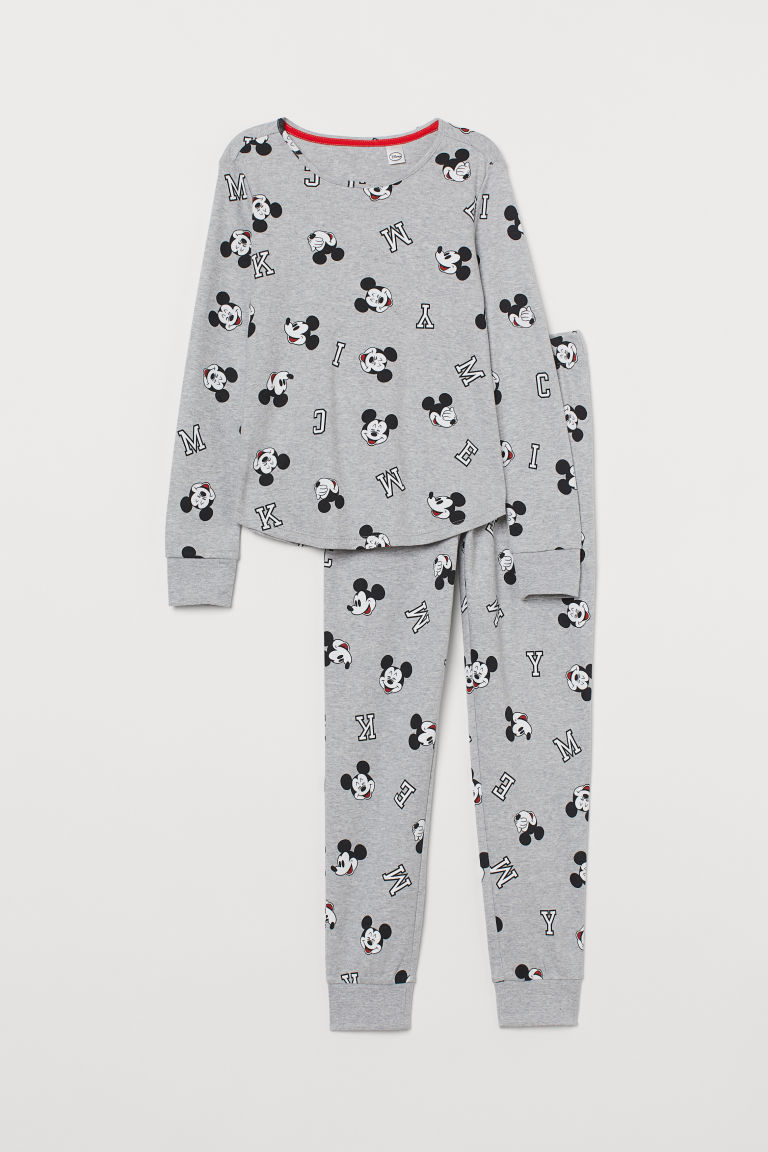 Jersey pyjamas - Light grey marl/Mickey Mouse - Kids | H&M IN