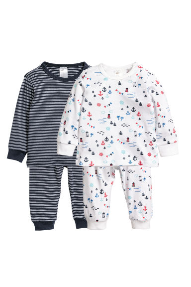 2-pack pyjamas - White/Patterned -  | H&M
