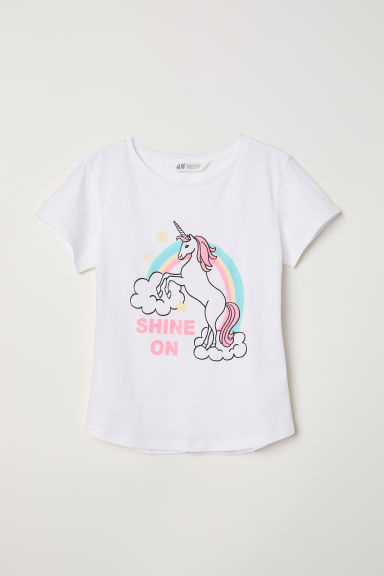 Generous fit printed T-shirt - White/Shine On - Kids | H&M