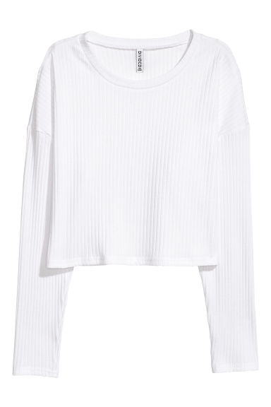 Top van ribtricot - Wit - DAMES | H&M BE