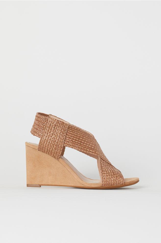 e8d651c151 Wedge-heel sandals - Light brown - Ladies | H&M ...