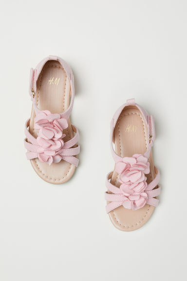 Appliquéd sandals - Light pink/Flowers - Kids | H&M