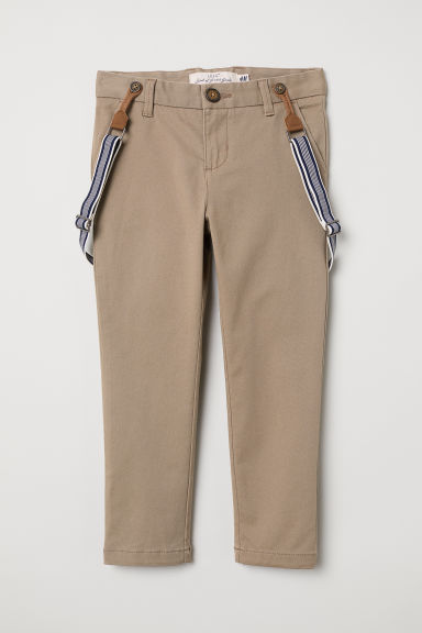 Trousers with braces - Beige - Kids | H&M CN