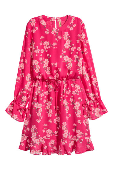 Patterned chiffon dress - Cerise/Floral - Ladies | H&M CN