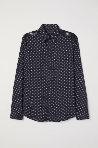 Spotted shirt Slim fit - Dark blue/White spotted - Men | H&M