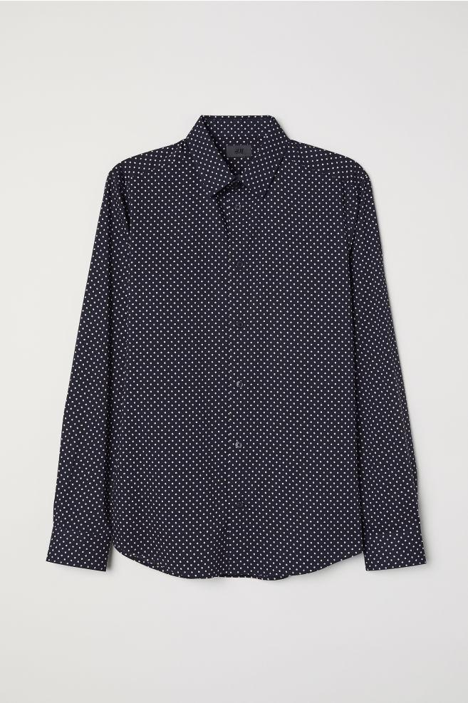Prickig skjorta Slim fit - Mörkblå Vitprickig - HERR  a8c1641aa4a5b